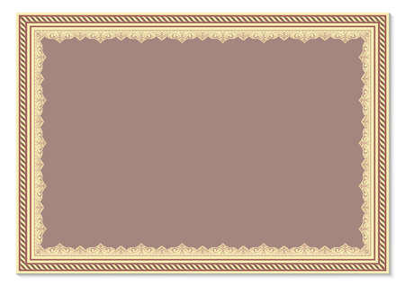 decorative frame with beautiful filigree and retro border in vintage style for luxury postcard , certificate,  premium invitation or wedding card on ancient background, ornament vector 向量圖像