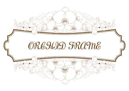 orchid flowers frame decoration.vintage invitation template. retro border vector design illustration.