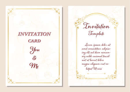 invitation card  with vintage frame on orchid flowers background, wedding template design