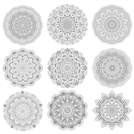set circular pattern of mandala. Decorative ornament in oriental style. Mandala with floral patterns. Beautiful lined design in vintage