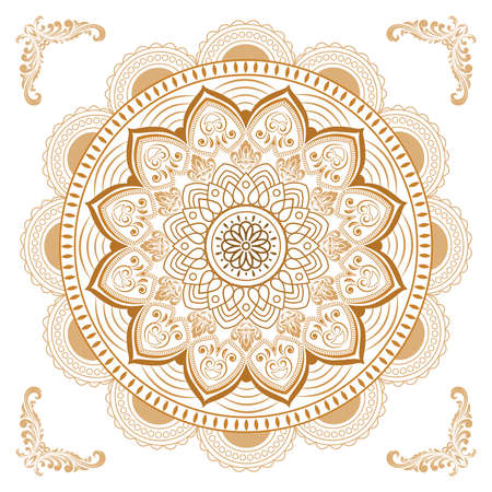 Circular pattern of mandala. Decorative ornament in oriental style. Mandala with floral patterns. Beautiful lined design in vintage