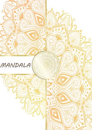 Mandala pattern design template with frame or decorative border vintage stay. Vector illustration. Vektorgrafik