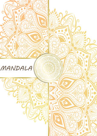 Mandala pattern design template with frame or decorative border vintage stay. Vector illustration. Vettoriali