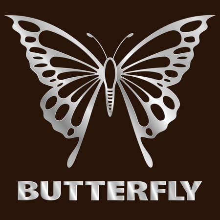 steel butterfly icon on stainless shelf. vector iron insect