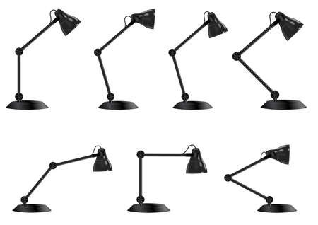 set of vintage desk lamp isolated on white background, vector illustration