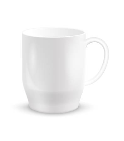 realistic white ceramic cup or coffee mugs isolated on white background. vector illustration for design