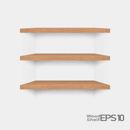 Set of empty wooden shelf isolated on white background, Vector Illustration