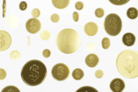 gold coin isolated on a white background - 3d render Imagens