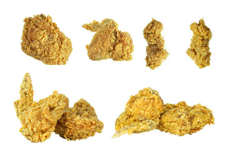 set of crispy fried chicken isolated on white background Imagens