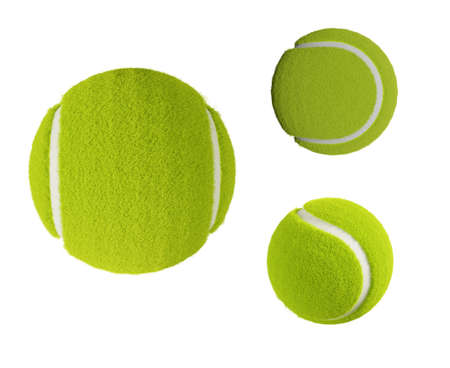 set of tennis ball isolated on white background