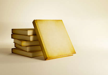 Stack of old antique books isolated on ancient background, 3d render Imagens