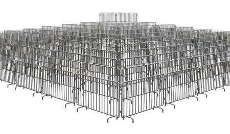 Metal barrier isolated on white background. 3D render