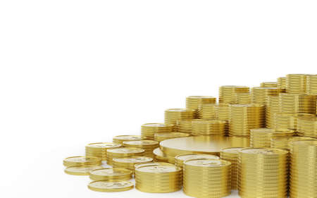 many of coins stack surrounded gold podium isolated on white. Saving money concept, 3d render Imagens