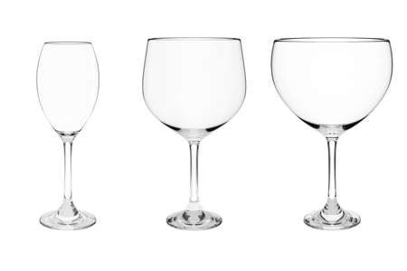 set of empty wine glass isolated on a white background