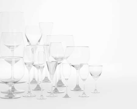 empty wine glass isolated on a white background, 3d render