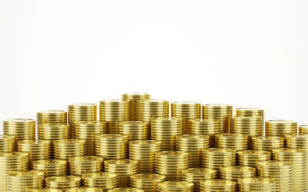 gold coin stack isolated on a white background - 3d render