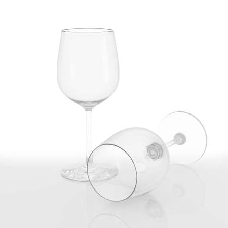empty wine glass isolated on a white background