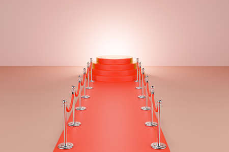 gold podium, pedestal or platform with barrier rope and red walkway on pink background, 3d render