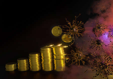 virus in fog is destroying gold coin stack on black background.coronavirus, covid-19 concept, 3d render