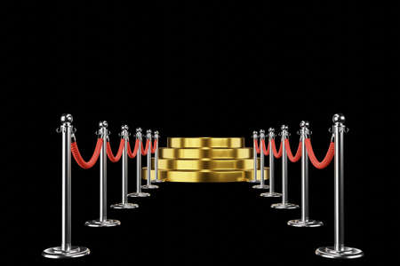 gold podium, pedestal or platform with barrier rope and red walkway on black background, 3d render