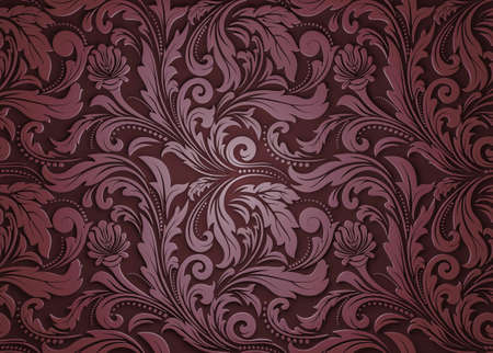 retro wallpaper and vintage pattern for fabric ornament or background ancient, filigree of antique leaf. 3d render Imagens