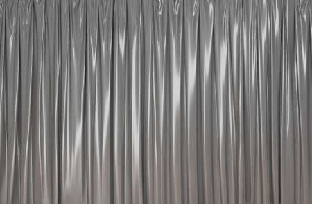 silver theater curtain background. 3D rendering