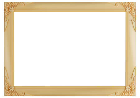 Blank wooden frame isolated on white background, 3d render