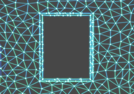 Abstract polygonal frame, space low polygon background, technology concept. 3d render Imagens