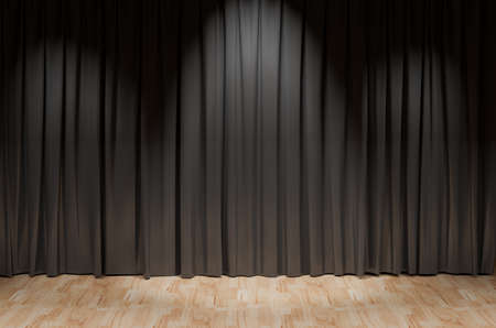 black theater curtain background on wood floor. 3D rendering