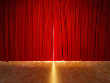red theater curtain background on wood floor. 3D rendering