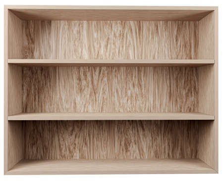 Blank wooden bookshelf isolated on gray,3d render