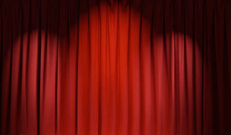 red theater curtain background. 3D rendering