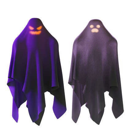 Halloween ghost isolated on white background with clipping path,3d render Imagens