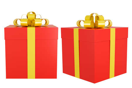 Red gift box with gold ribbon isolated on white background clipping path,3d render