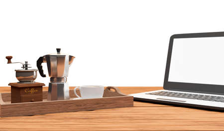 set of coffee with moka pot, grinder and laptop computer isolated on white background,clipping path,3d render