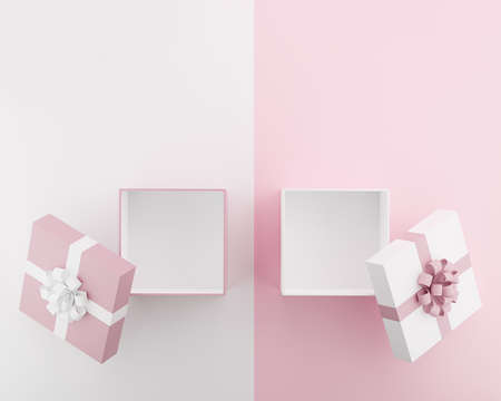 pink and white gift box isolated on two tone background,3d render Imagens