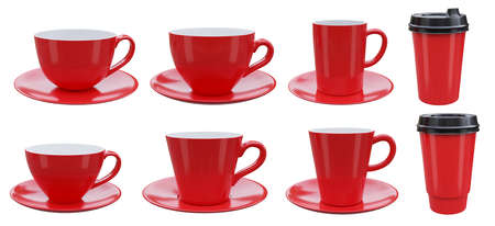 Set of red coffee mugs isolated on white background. clipping path, 3d render