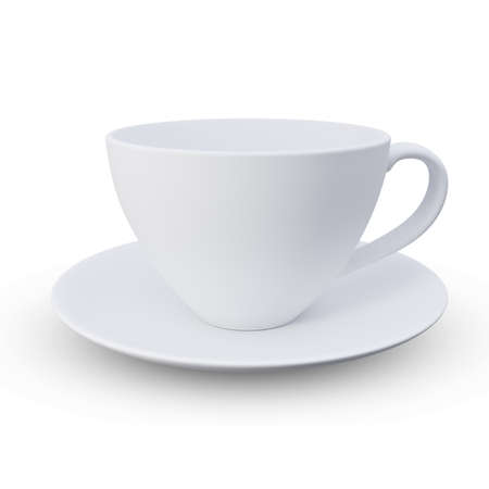 white coffee mugs isolated on white background. clipping path, 3d render