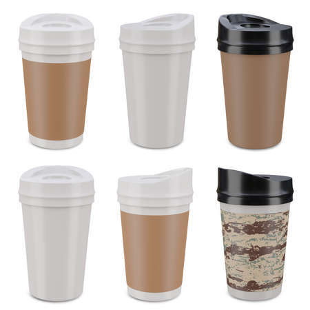 Set of white coffee mugs isolated on white background. clipping path, 3d render