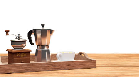 set of coffee with moka pot and grinder isolated on white background,clipping path Imagens