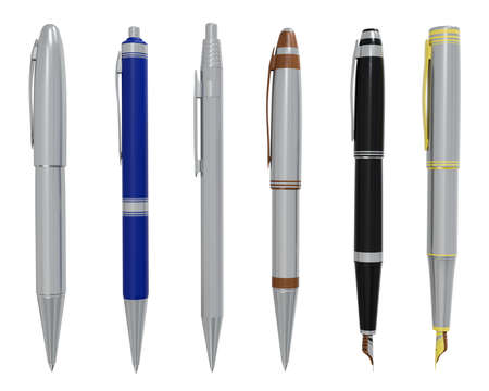 set of pen isolated on white background with clipping path,3d render Stock fotó