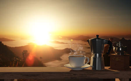 set of coffee with moka pot and grinder on wood table at beautiful mountain background, 3d render