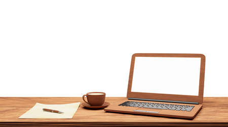 computer notebook and coffee on old table isolated on white background with clipping path,3d render