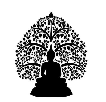Buddha and bodhi tree symbol isolate on white background,silhouette image