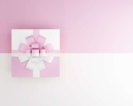 pink and whie color gift box isolated on two tone background,3d render