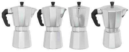 Set of moka pot coffee pot isolated on white background with clipping path
