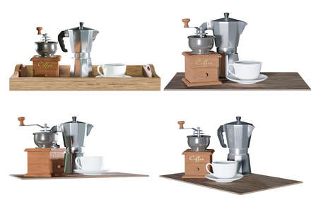 set of coffee with moka pot and grinder isolated on white background,clipping path;3d render