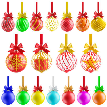 set of decorative colorful balls isolated on white background,3d render