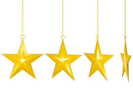 Golden Christmas Star isolated on white Background.clipping path.3d render