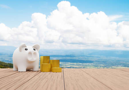 Piggy bank and a pile of coins on old wooden desk with beautiful landscape background, Saving money for travel concept.3d render Imagens